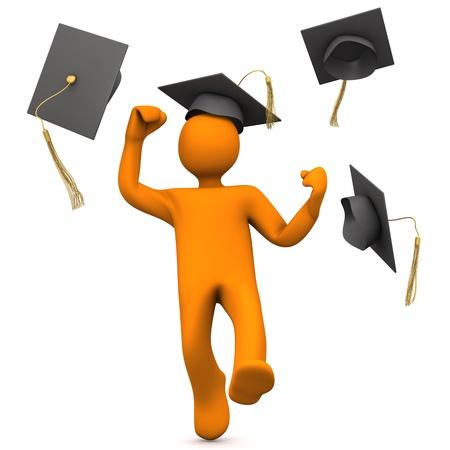 doctorate: Orange cartoon character with black graduation cap leaps for joy