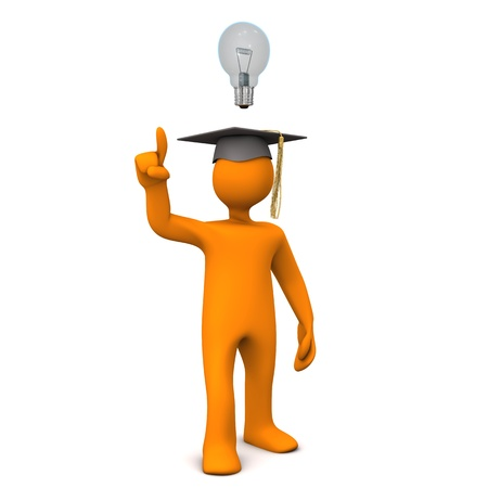 Orange cartoon character with black graduation cap and bulb. photo