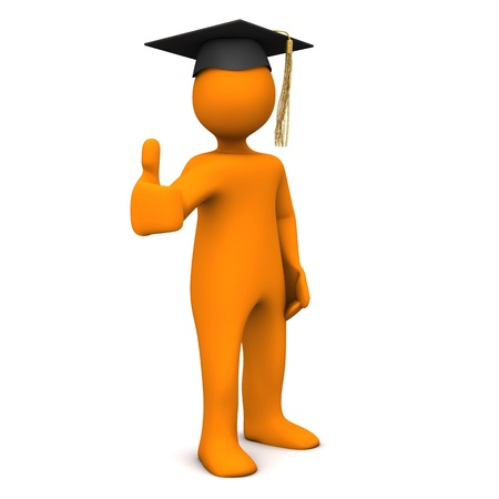 Orange cartoon character with black graduation cap. photo