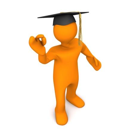 honors: Orange cartoon character with black graduation cap and super symbol. Stock Photo
