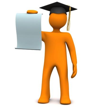Orange kreslená postavička s černým promoce čepici a certifikátem.
