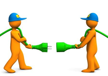 enchufe: Dos personajes de dibujos animados de color naranja con conector verde.