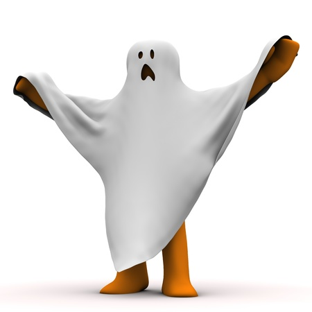 specter: Orange cartoon with white cloth, as ghost. White background. Stock Photo
