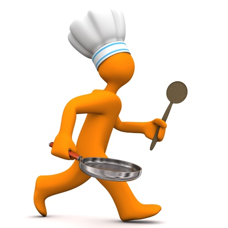 Orange cartoon character with chefs cap, pan and cooking spun runs on the white background. Stock Photo