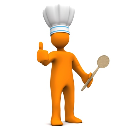 ok symbol: Orange cartoon character with chefs cap, cooking spoon and OK symbol. Stock Photo