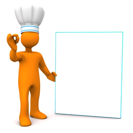 puppet woman: Orange cartoon character as chef with white signboard. White background.