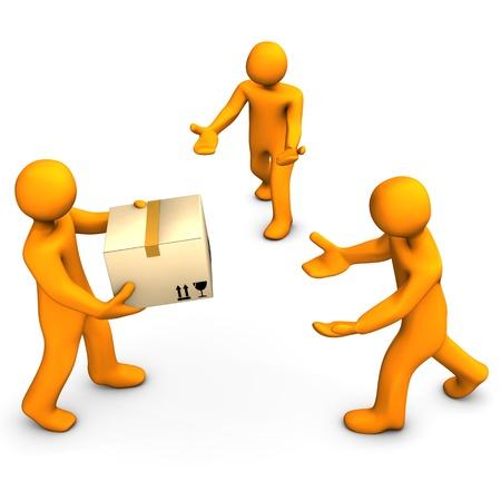 forwarding: Three orange cartoon characters with one box. White background.