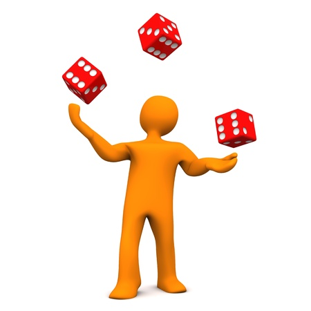 jugglery: Orange cartoon character juggles with red dices. Stock Photo