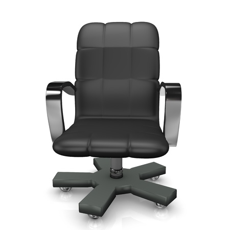clerical: Black swivel armchair on the white background.