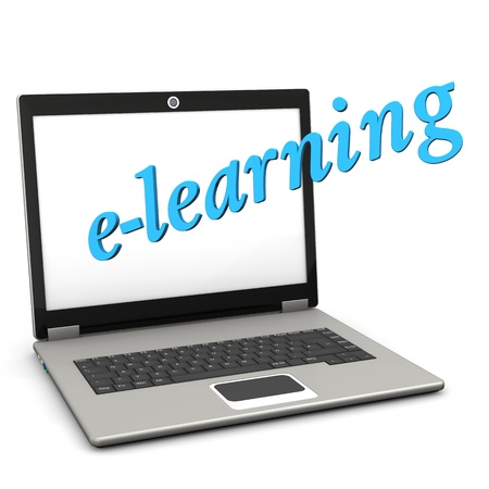 continued: A notebook with blue text e-learning. White background.