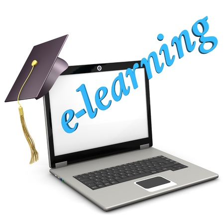 mortar board: A notebook with graduation cap and blue text e-learning. White background. Stock Photo