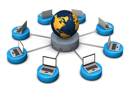 networked: Illustration of networked world, with laptops and globe on white background.