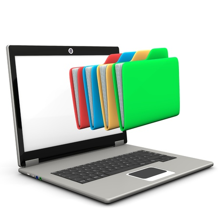 ultrabook: A notebook with multicolored folders. White background. Stock Photo