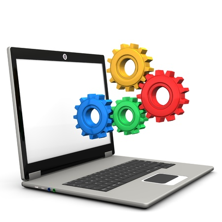 netbook: Multicolored gears with notebook on the white background.