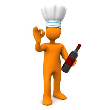 landlord: Orange cartoon character with the red wine bottle and two wineglasses. White background. Stock Photo