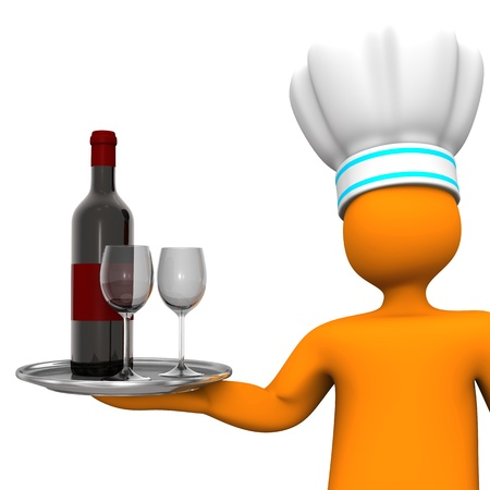 puppet woman: Orange cartoon character with the red wine bottle and two wineglasses  White background  Stock Photo