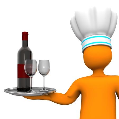 marioneta de madera: Personaje de dibujos animados de naranja con la botella de vino tinto y dos copas de vino fondo blanco