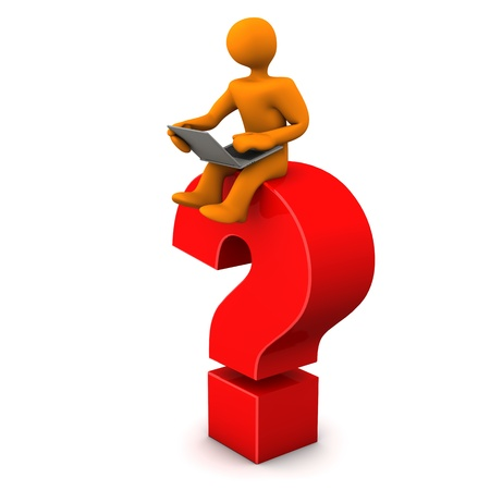 Orange cartoon character sits on the big red question mark  White background  photo