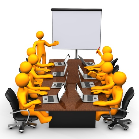 business team meeting: Orange cartoon characters have training with notebooks  White background