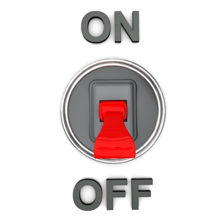 power switch: On Off disconnected switch on the white background  Stock Photo
