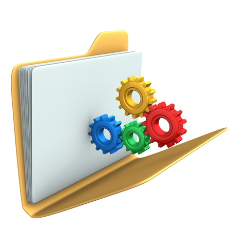 Yellow folder with multicolored gears  White background  Stock Photo - 16471546