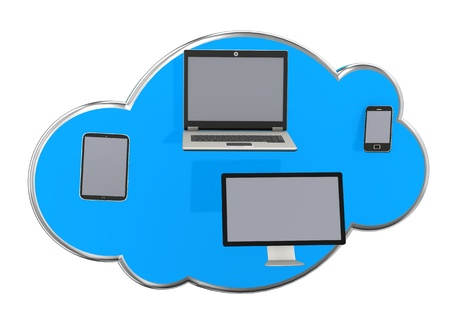 Blue cloud with smartphone, tablet, monitor and notebook  Stock Photo - 16471526