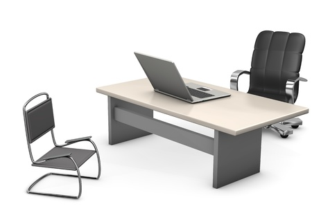 armchair shopping: A office with table chair, swivel chair and laptop. White background.