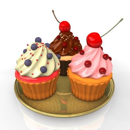 Three caupcakes on the golden plate. White background. Stock Photo