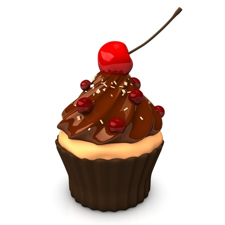 currants: Cupcake with  chocolate cream, red currants and cherry. White background.