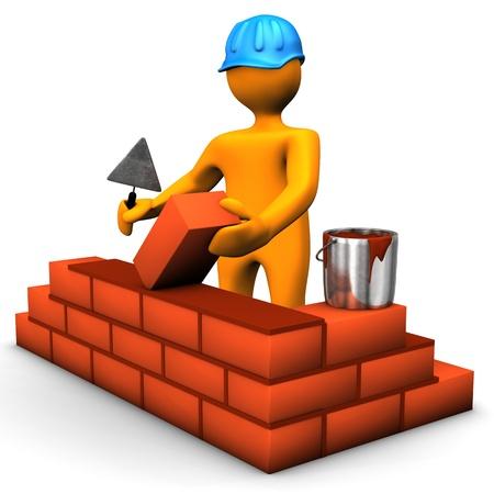 파란색 헬멧과 갈색 벽돌 건물의 노동자. 흰색 배경입니다. 스톡 콘텐츠