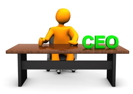 chief executive officers: Orange cartoon character as CEO with table. With background.