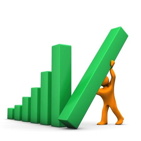Orange cartoon character mounts the beams of the green chart. photo