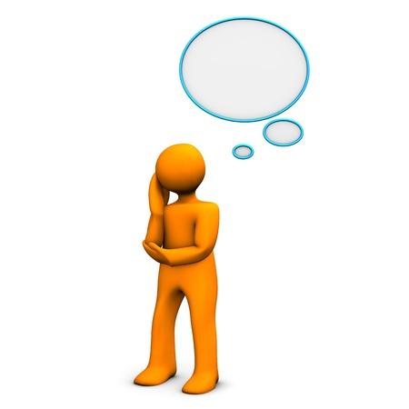 Oranje cartoon karakter met gedachte bel. Witte achtergrond. Stockfoto
