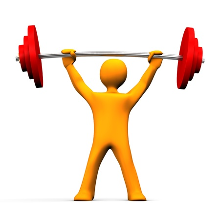 physical fitness: Orange cartoon character uplifts the dumbbell. White background.