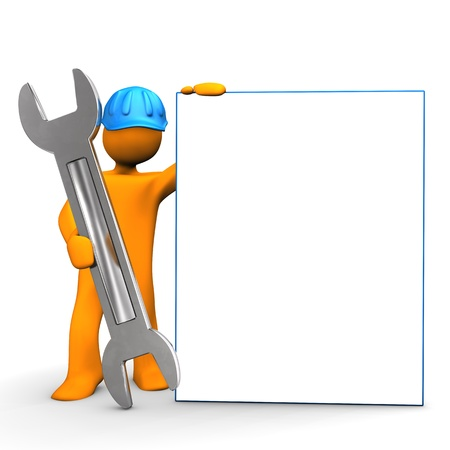 Industrial worker with spanner and signboard. White background. Zdjęcie Seryjne