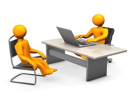 Consultant met laptop en cliënt een stoel Witte achtergrond Stockfoto