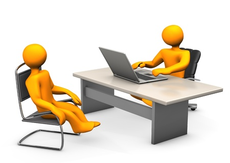 cfo: Consultant with laptop and client an chair  White background