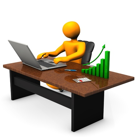 Orange cartoon character with laptop and green chart on table  photo