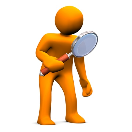 investigating: Orange cartoon with big loupe on the white background