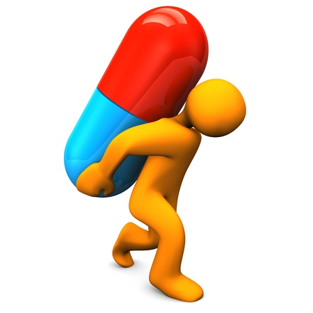 medicament: Personaje de dibujos animados con la p�ldora grande Orange Fondo blanco