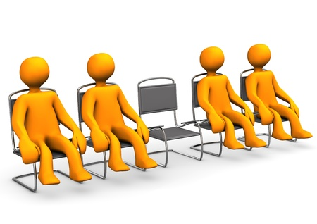 group therapy: Free seat in a ante room  White background  Stock Photo