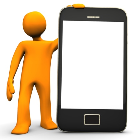 Orange cartoon character with big smartphone on the white background  photo