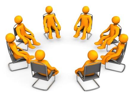 terapia de grupo: Asientos anaranjados de la historieta en sillas Fondo blanco Foto de archivo