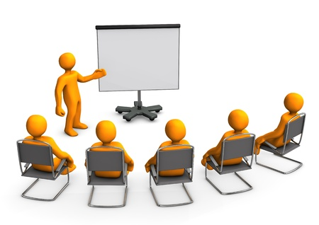training group: Orange cartoon characters sit in on a lecture
