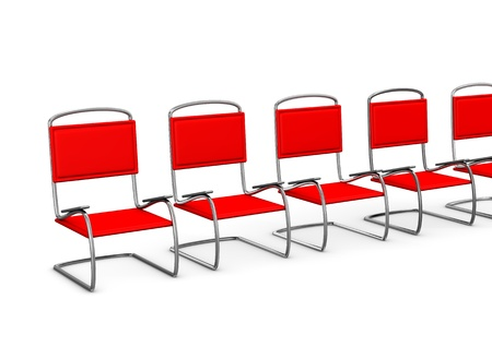 anteroom: Red chairs in the anteroom on the white background