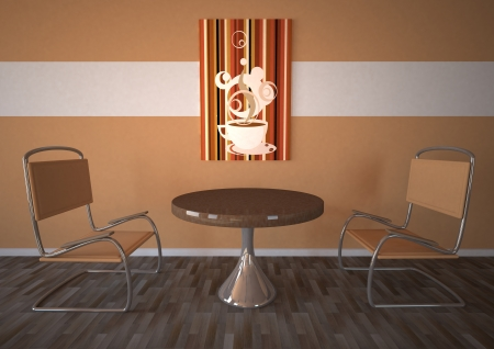 woll: Modern cafeteria with table and two chairs  Brown woll