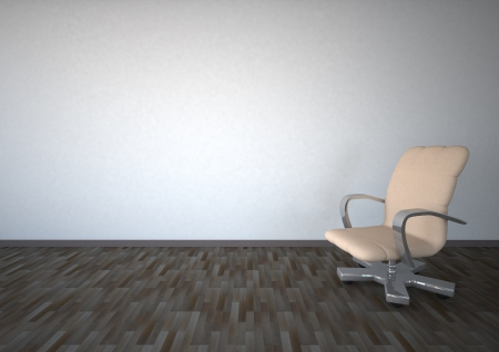 chamber: Empty room with white sviwel chair on laminate
