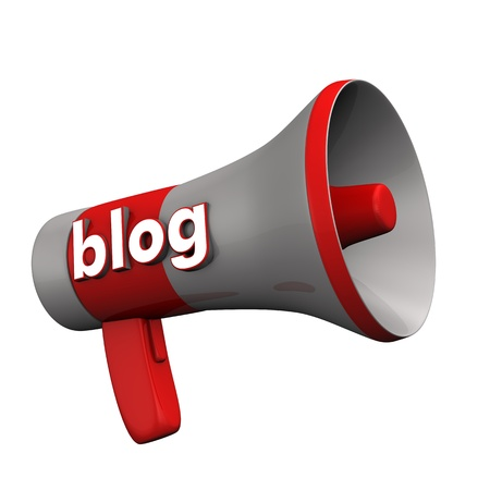 organise: A bullhorn with the text blog on the white background.