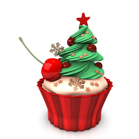 A christmas cupcake with green tree and cherry. photo