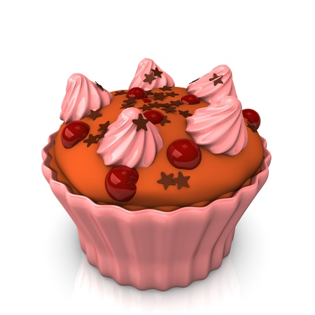 choco: Cupcake with pink creme and choco stars. Stock Photo